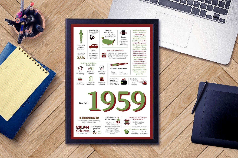 Jahrgang 1959 Chronik originelle Geschenkidee Geschenk zum 60 Geburtstag