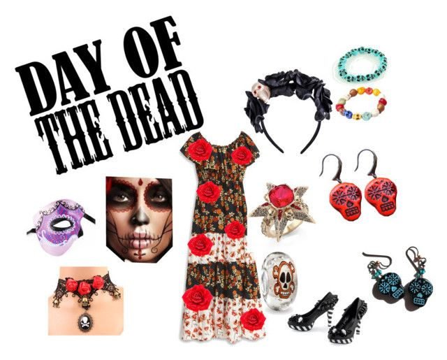 """""""Dia de Los Muertos"""" by sirengem ❤ liked on Polyvore featuring art and Dayofthedead"""