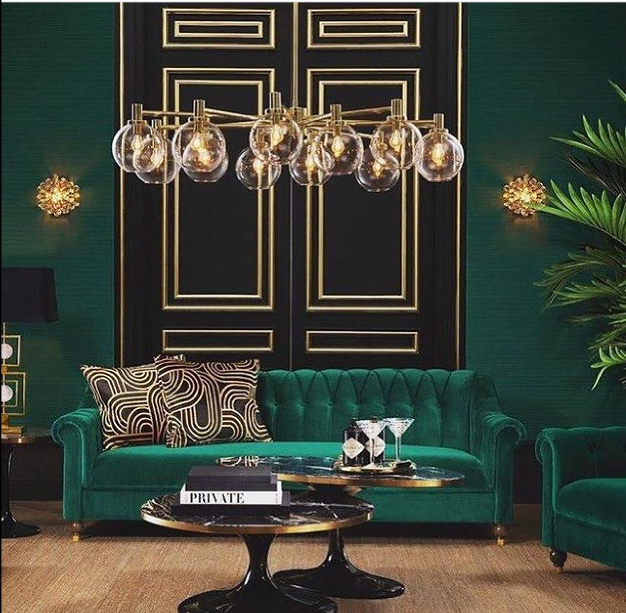 Emerald Green Black And Gold Luxe Dark Living Rooms Art Deco Living Room Elegant Living Room