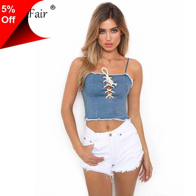 11b21d04ca12a0 [Only $8.12] Nadafair Lace-up Criss Cross Wrap Women Sexy Denim T Shirts  Summer Flexible Crop Tops Casual Camis #Nadafair, #Laceup, #Criss, #Cross, # Wrap, ...