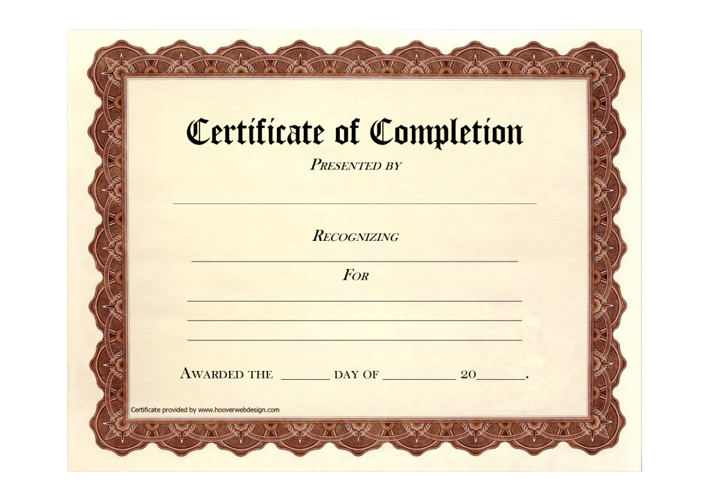 Formal Certificate Of Completion Template Example With Editable