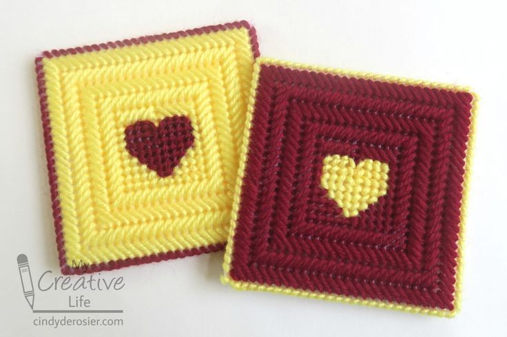 Plastic Canvas Heart Coasters is part of Kids Crafts Canvas Heart - Introduce kids to needlework with an easy plastic canvas project  These heart coasters are fun to make and not too …