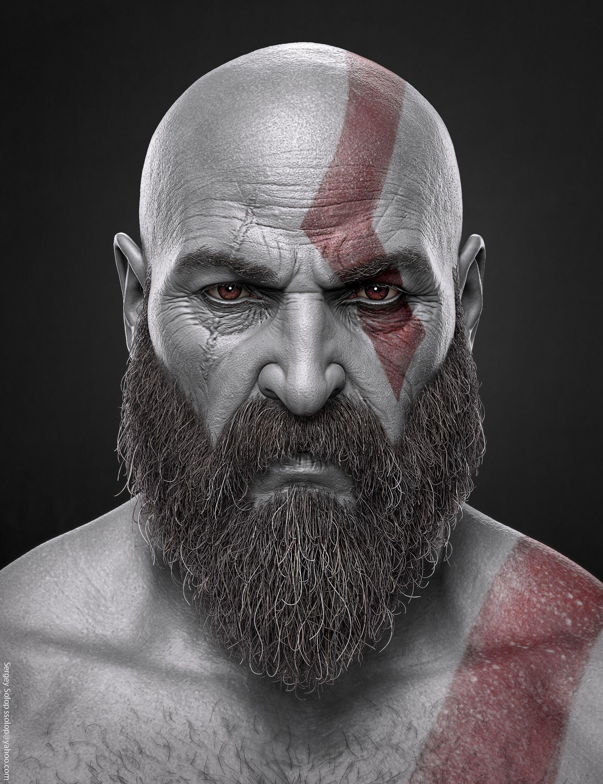 Artstation Kratos God Of War Sergey Solop Desenho De