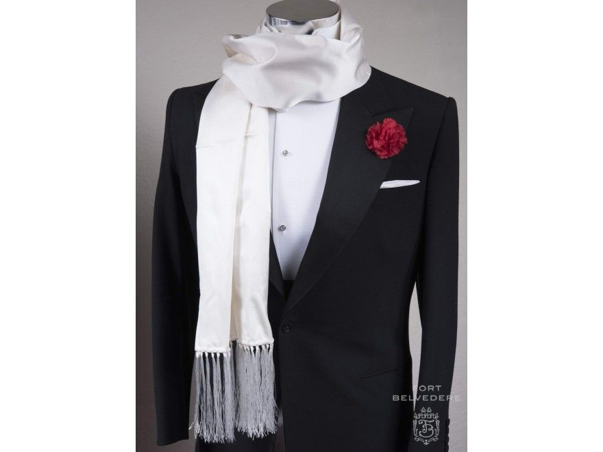 Mens white silk dress scarf boots