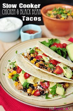 Slow Cooker Chicken and Black Bean Tacos ~ let your crock pot do all of the work on your next taco night!   FiveHeartHome.com