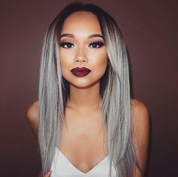 haare tonen abend make up glatte graue haare mit schwarzem ansatz
