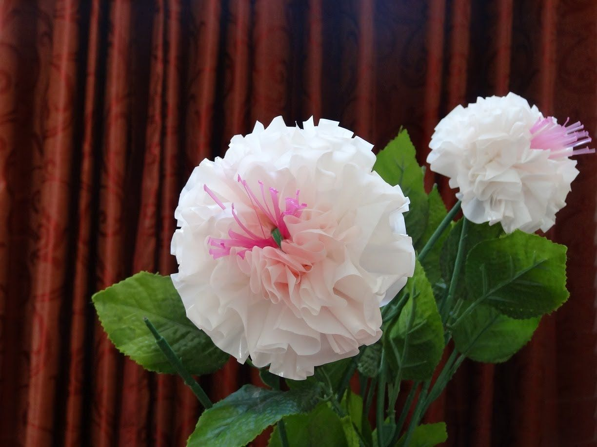How To Make Beautiful Flowers Out Of Recycled Plastic Bag And Straw