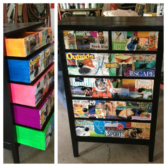 Modge podge dresser with magazine clippings and neon for Modge podge ideas