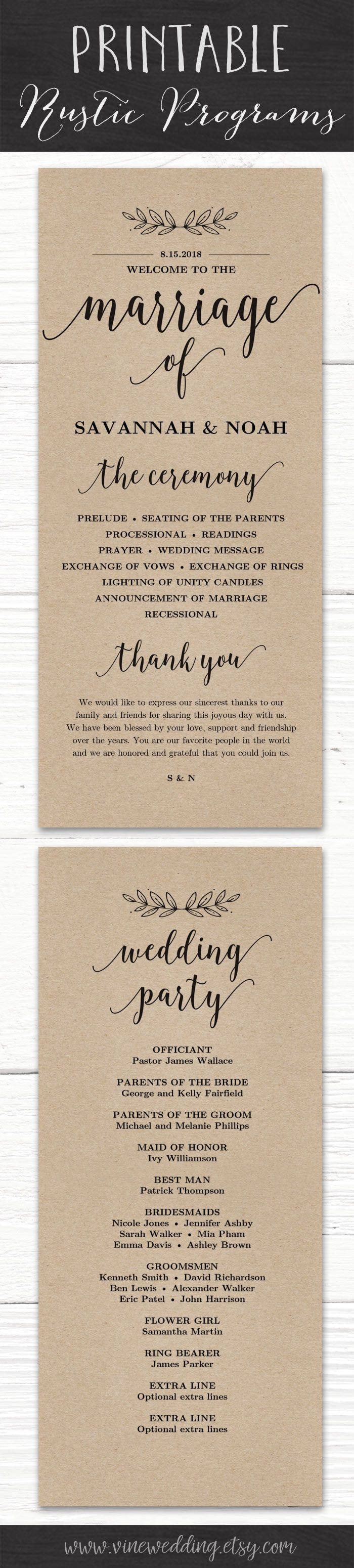 diy wedding invites rustic%0A Printable Rustic Wedding Program  weddingprogram  rusticwedding  printable   diywedding