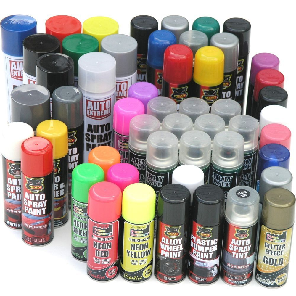 Details About Spray Paint Black White Blue Red Primer Neon