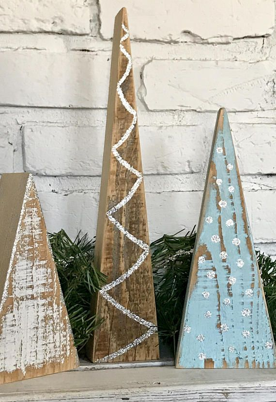 set of 3 reversible wood christmas trees distressed paint on one side and silver decorations - Rustic Wood Christmas Tree