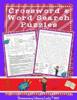 Martin Luther King Jr Activities Crossword Puzzle And Word Search