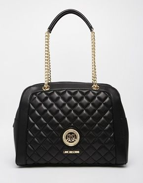 VanityJada Moschino Quilted Bowler Shoulder Bag  e9584f14540