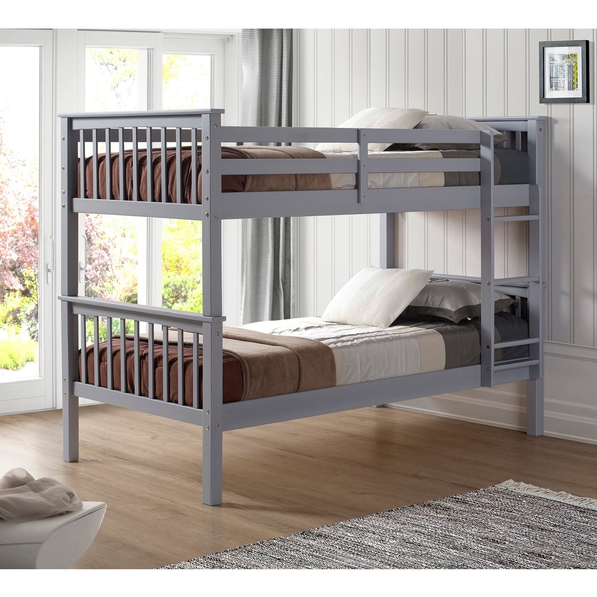 twin over twin solid wood mission design bunk bed white solid