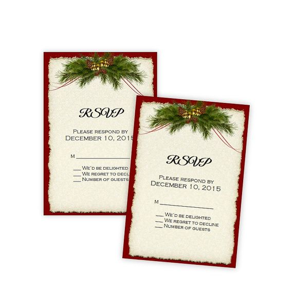 Wedding Or Holiday Party RSVP Card Template