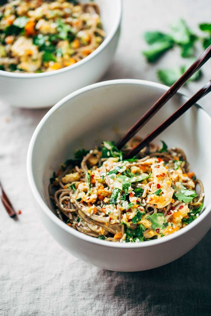 Chopped Chicken Sesame Noodle Bowls #chicken #noodle #recipe