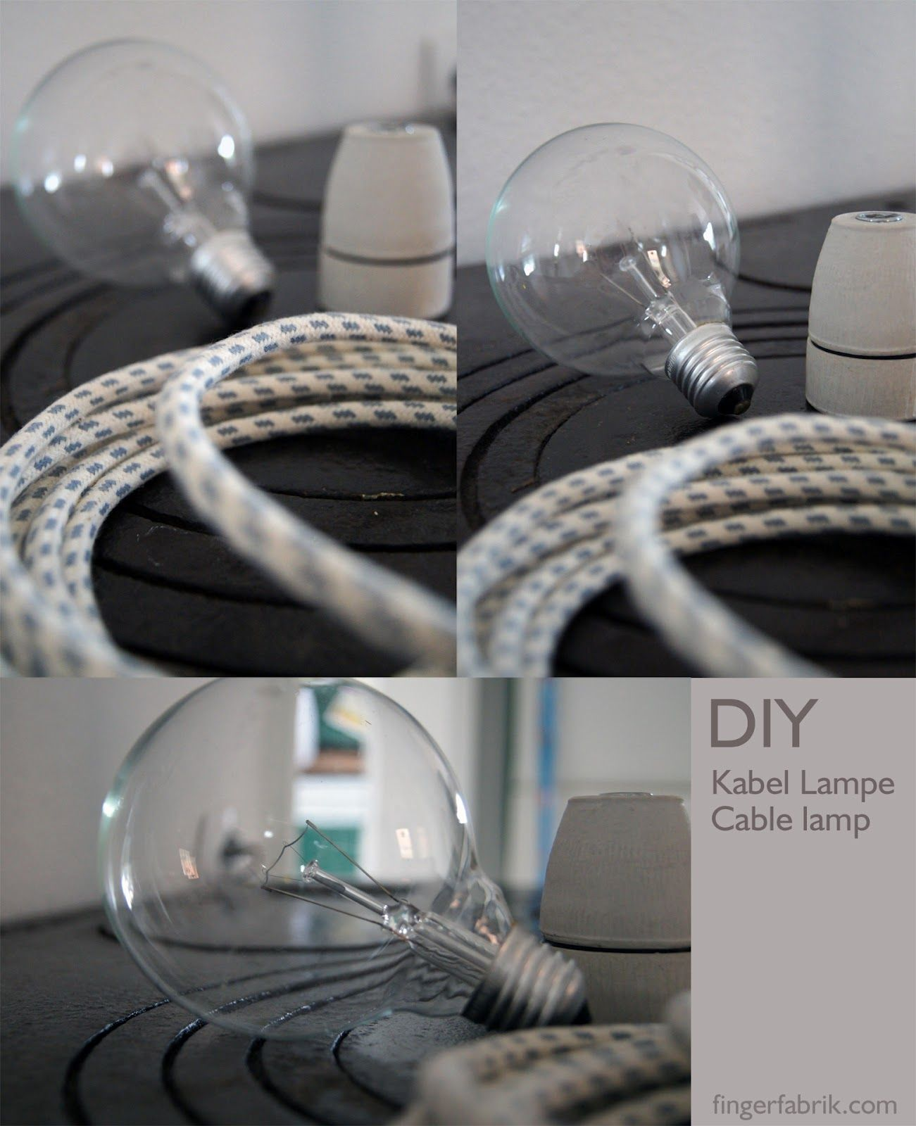 Diy Cable Lamp Tutorial With Textil Cable Kabellampe Selber