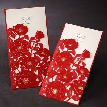 Chinese Red Wedding Invitation CardsLaser Cut Cards China Style