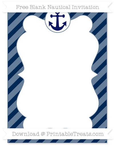 free navy blue diagonal striped blank nautical invitation nautical