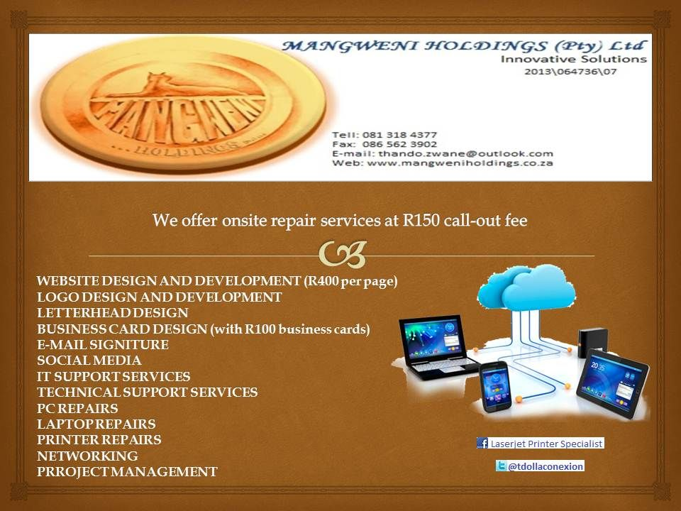 WEBSITE DESIGN AND DEVELOPMENT (R400 per page) LOGO DESIGN AND ...