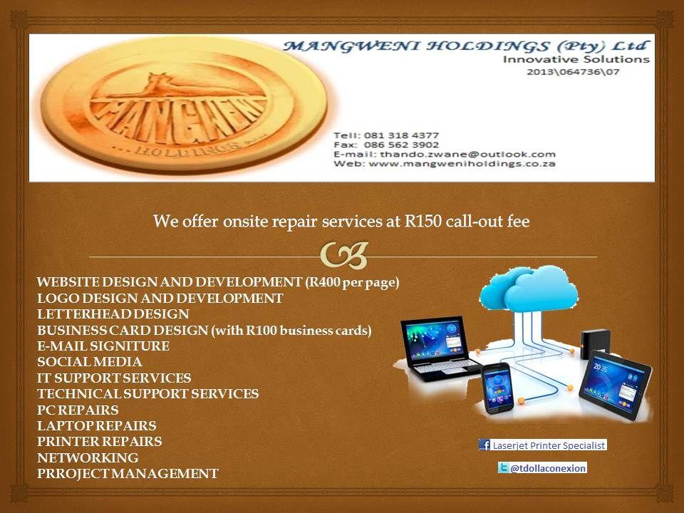 WEBSITE DESIGN AND DEVELOPMENT (R400 per page) LOGO DESIGN AND ...