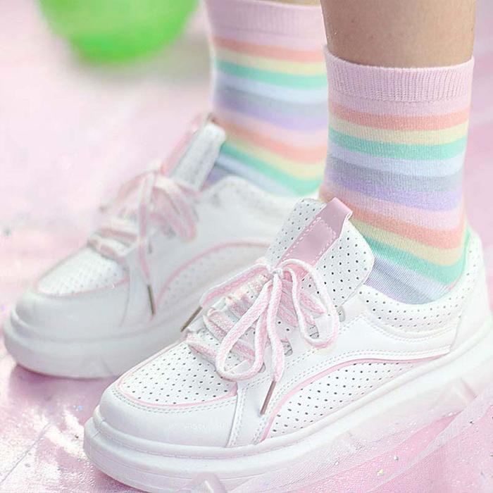 Soft Pastel Kawaii Rainbow High Ankle Socks
