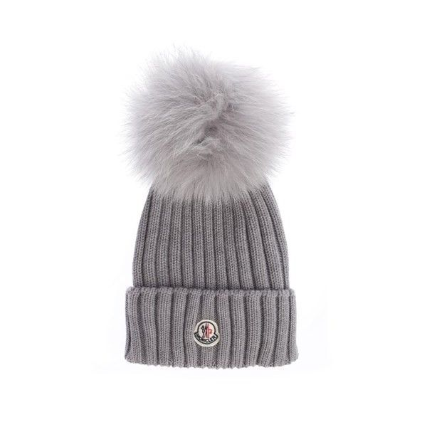 MONCLER Virgin Wool Ribbed Beanie ( 267) ❤ liked on Polyvore featuring  accessories f1107835809b