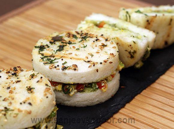 How To Make Grilled Dhokla Sandwich Recipe By Masterchef Sanjeev Kapoor Recipe Vegetarian Snacks Dhokla Veg Snacks