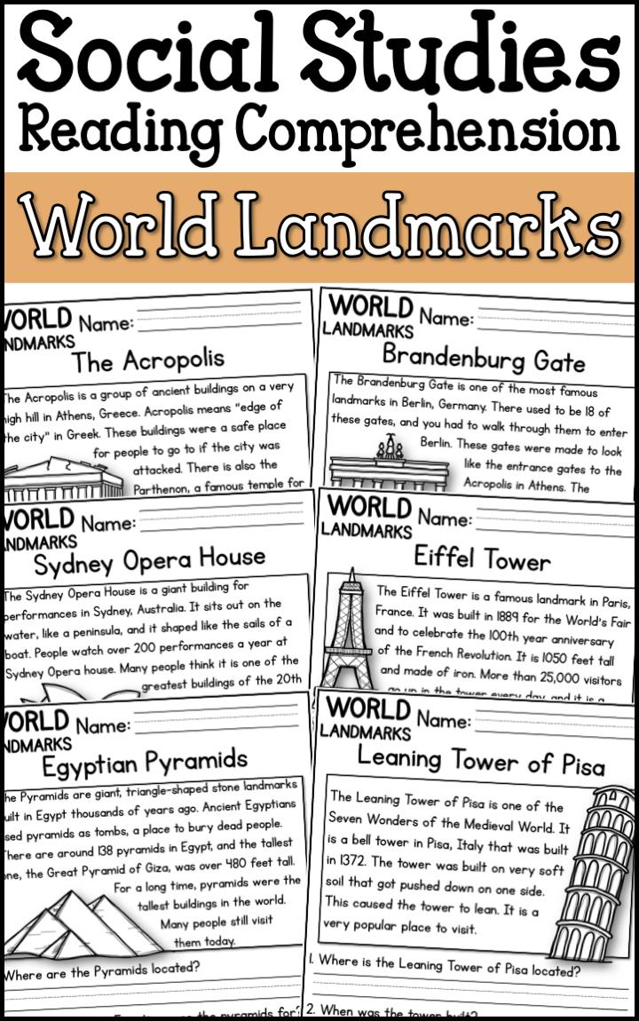 - Famous World Landmarks Reading Comprehension Passages (K-2
