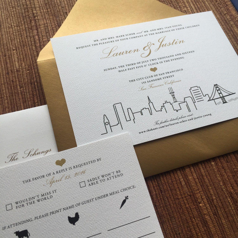San Francisco Wedding Invites / City Skyline Stationery Invitation ...