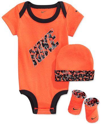 b2befce0e Nike Baby Boys' 3-Piece Orange Bodysuit, Hat & Booties Set   macys.com