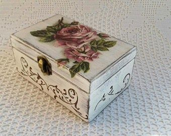 Wooden Jewelry Box Handmade Decoupage Beige Storage Box With Red Roses For Home Decor #caixasdemadeira