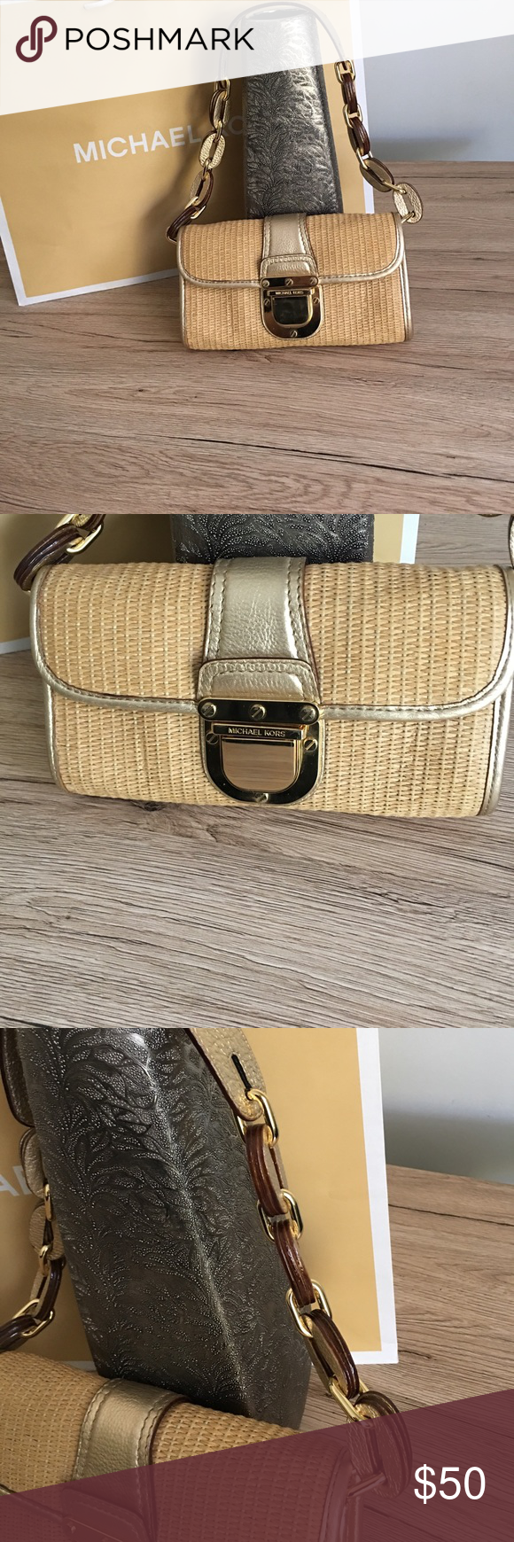 Michael Kors woven straw small hand bag gold metallic