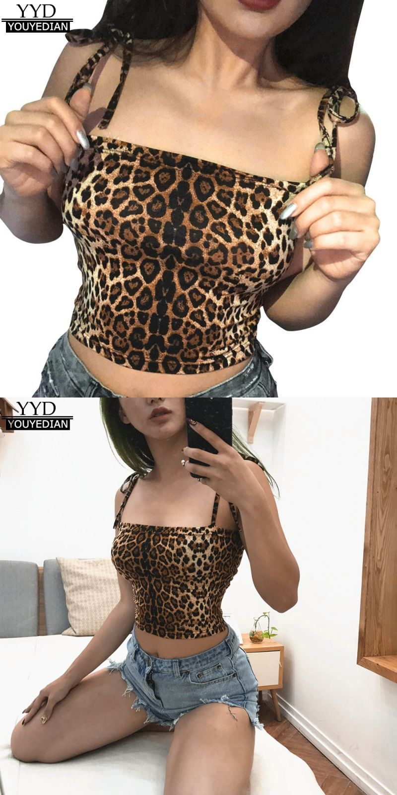 8d775ae20a Fashion womens tank tops sexy leopard print vest halter summer casual short  polyester girls strappy camis