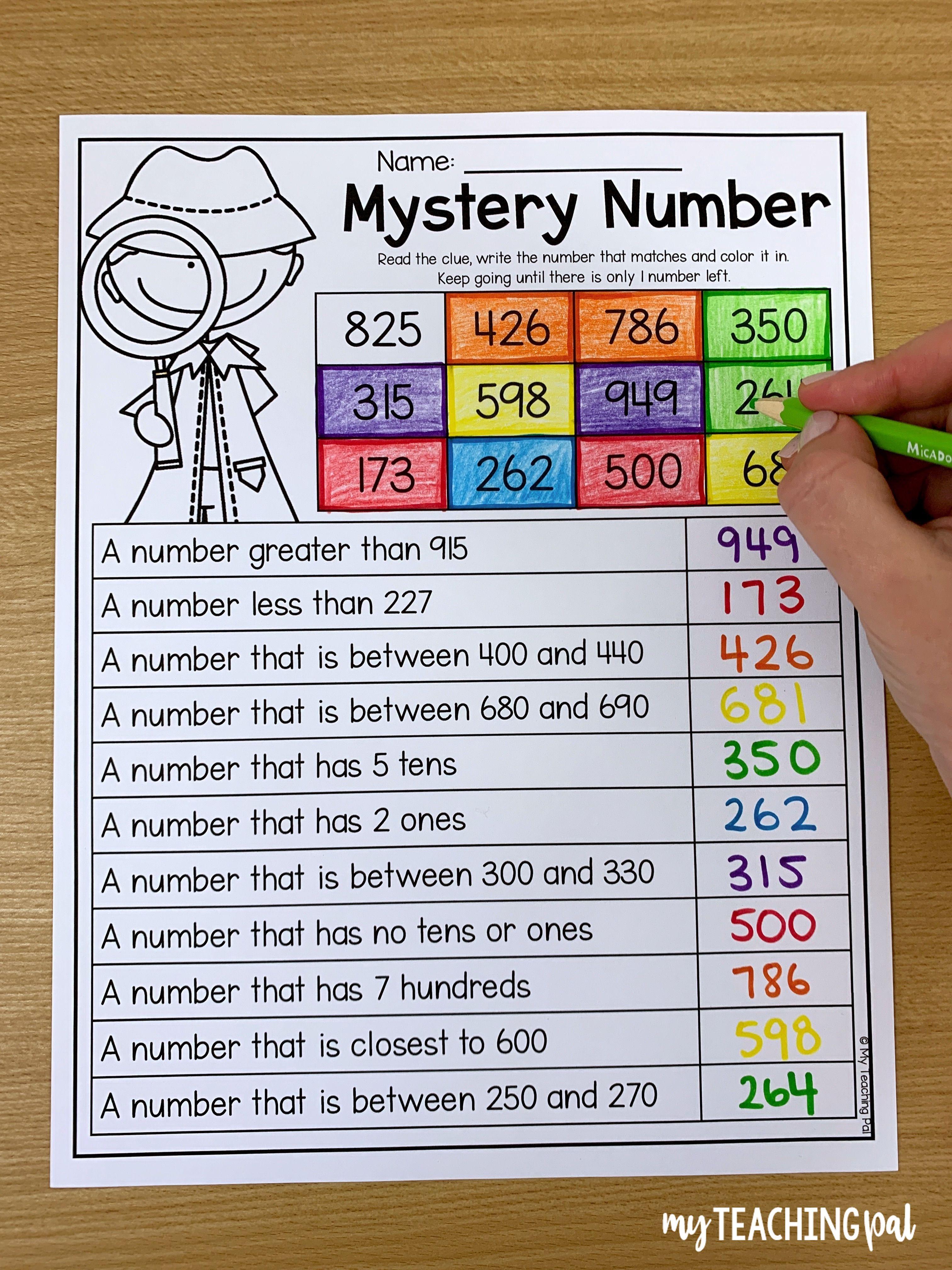 3 Digit Mystery Number Worksheet Place Value Worksheets Second Grade Math 2nd Grade Math