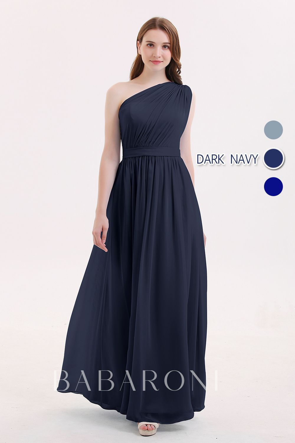 7b96171cb02 Maggie is a floor-length one-shoulder dress in chiffon, which is suitable  for a summer wedding. It is comfortable and elegant.