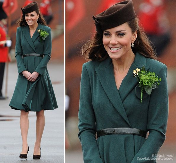 Kate in green coat dress by Emilia Wickstead for St. Patrick's Day ...