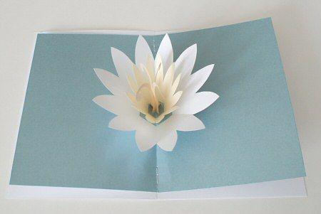 Lotus Blossom Pop Up Card Pop Up Flower Cards Cards Handmade Flower Cards