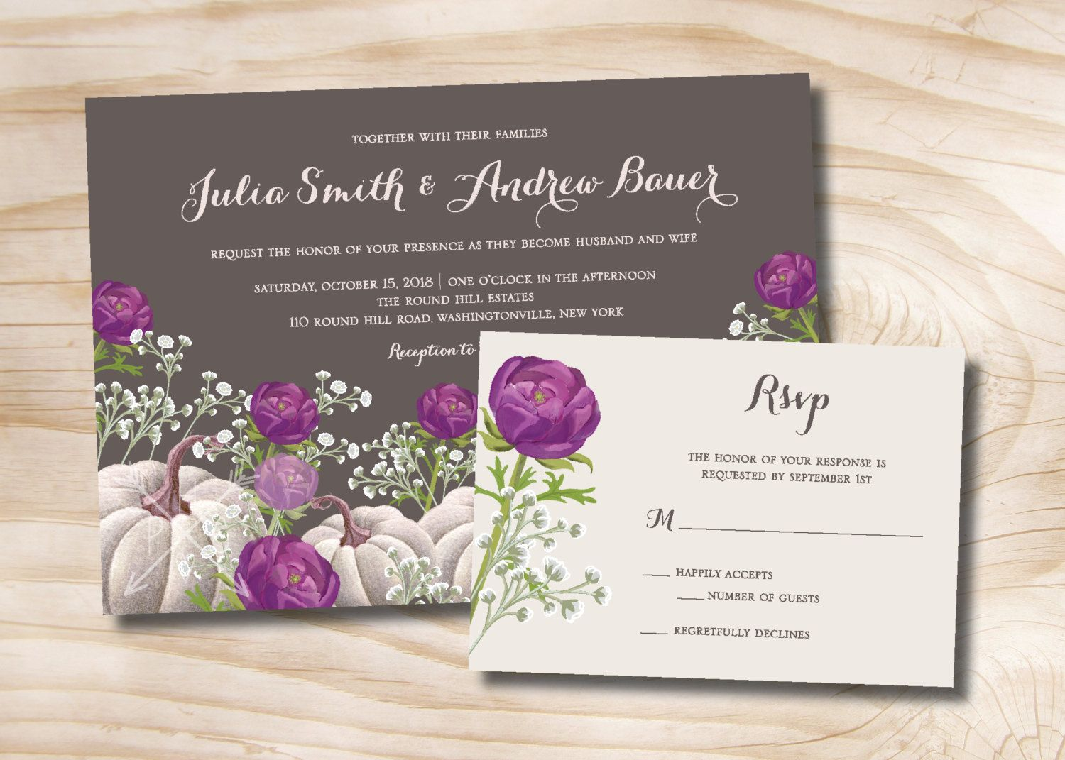 White Pumpkin Purple Fl Fall Wedding Invitation And Response Card 100 Printed By Paperheartcompany On