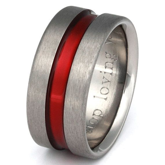 Firefighter S Thin Red Line Anium Wedding Band Promise Ring Wide