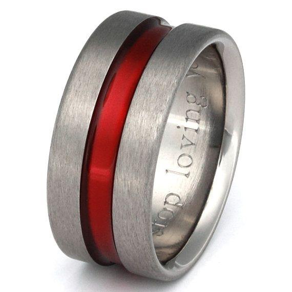 Firefighter S Thin Red Line Titanium Wedding Band Etsy In 2020 Titanium Wedding Band Titanium Wedding Rings Rings For Men