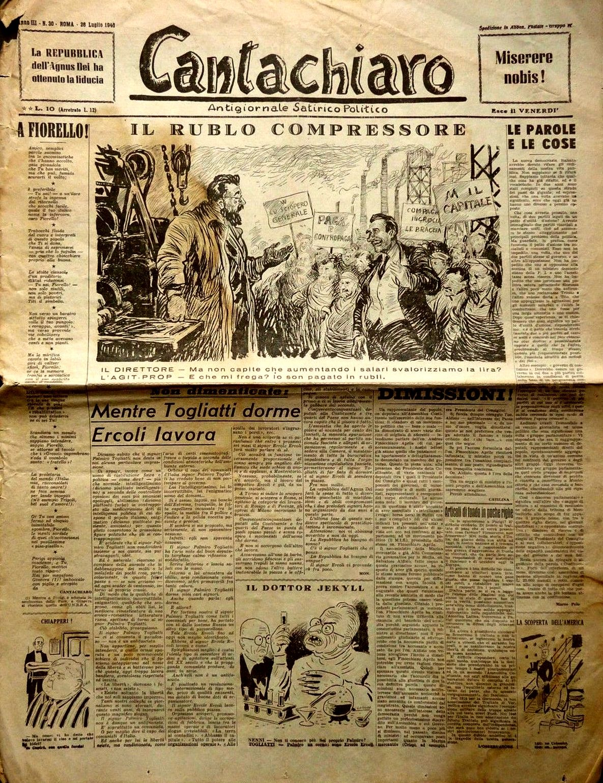 "Pietro Garinei and Sandro Giovannini satirical weekly magazine ""Cantachiaro"": ""Rollroad ruble"" (26th July 1946)."