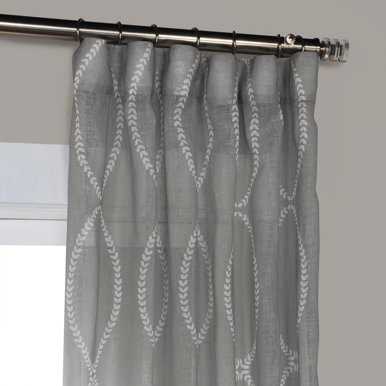 Grecian Grey Printed Sheer Curtain Sheer Curtain Curtains