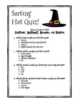 graphic about Printable Sorting Hat Quiz known as Harry Potter Themed Clroom - Sorting Hat Quiz harry