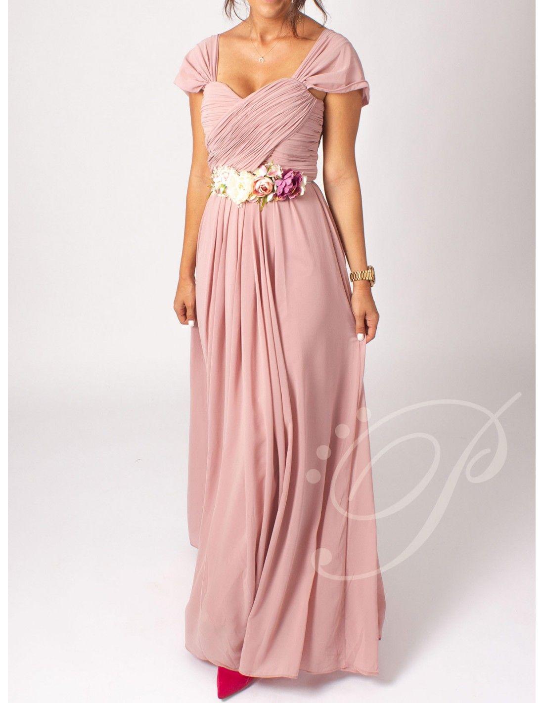 087cf9c09 Vestido Alisha - Vestido largo en color nude. Tirante de gasa. Cuerpo  efecto cruzado