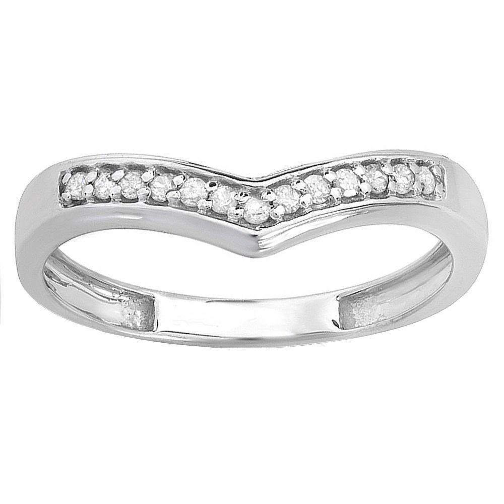 contour diamond wedding band Elora 10k White Gold 1 6ct TDW Contour Diamond Wedding Band I J I2