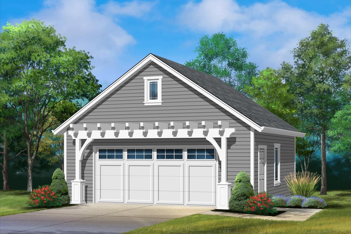 Plan 22136sl Detached 2 Car Garage With Pergola In 2021 Detached Garage Designs Garage Plans Detached Detached Garage Cost