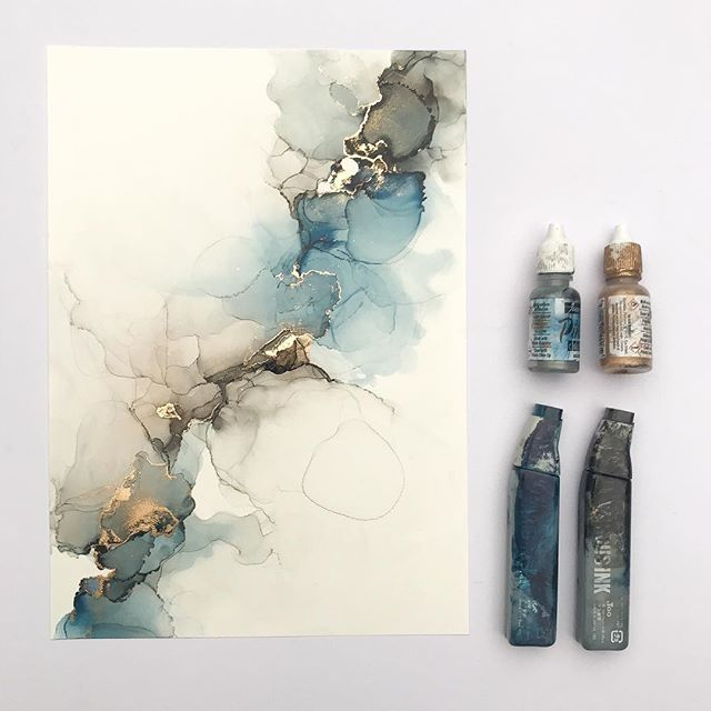 """Charlotte Vale on Instagram: """"*Sold* Alcohol ink on A4 sized yupo. Absolutely loving my new agate copic ink @copic_official. I'd previously had a tough time with blue…"""""""