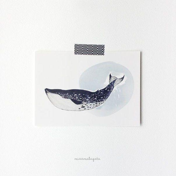 Открытка это синий кит