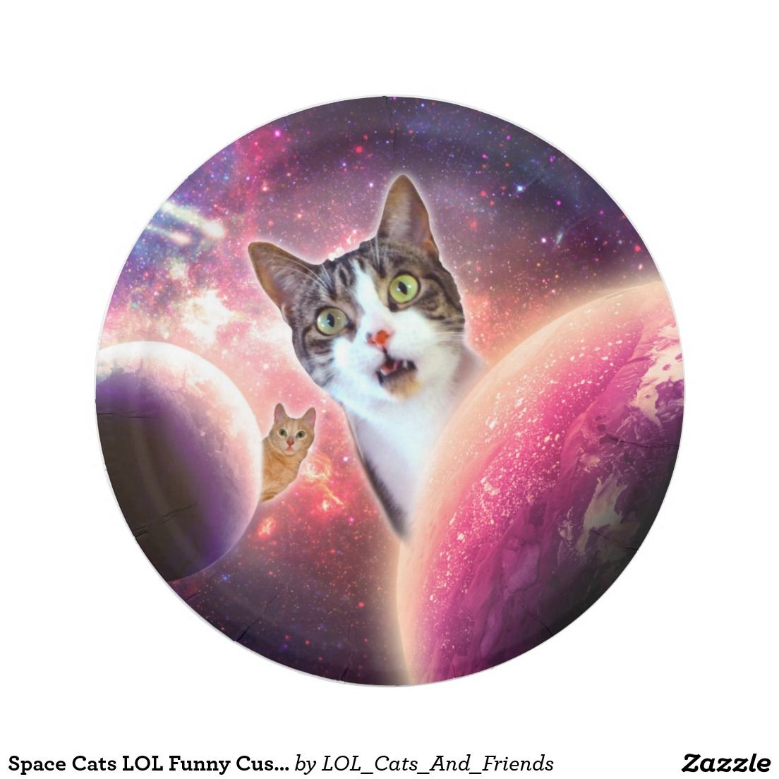 Space Cats LOL Funny Custom Paper Plates 7\  7 Inch Paper Plate  sc 1 st  Pinterest & Space Cats LOL Funny Custom Paper Plates 7\
